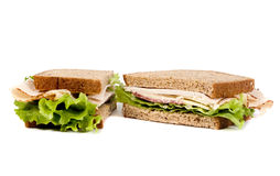 Deli Sandwich. A fresh deli sandwich with lots of meat and green lettuce Royalty Free Stock Image