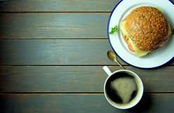 Deli sandwich with coffee and copy space Royalty Free Stock Image