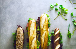 Deli sandwich with vegetables Stock Images