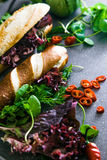Deli sandwich with vegetables Royalty Free Stock Photo