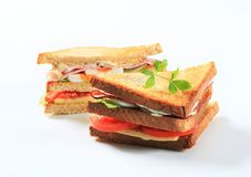 Deli sandwiches. With ham, cheese, egg and veggies Royalty Free Stock Photo
