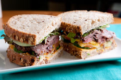Deli sliced roast beef with cracked whole wheat bread Royalty Free Stock Photo
