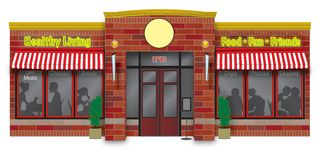 Deli storefront illustration. Brick deli & restaurant storefront illustration Royalty Free Stock Image
