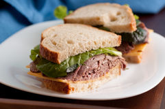Deli style roast beef sandwich Royalty Free Stock Photography