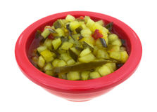 Deli Style Sweet Relish Red Bowl Stock Image