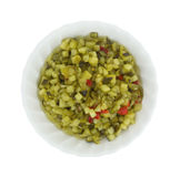 Deli style sweet relish in a small bowl. Top view of a small bowl of delicatessen style sweet relish isolated on a white background Royalty Free Stock Photography