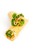 Deli Tortilla Wrap Cut in Half Stock Images