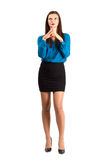 Deliberating young business woman with aligned fingers Royalty Free Stock Image