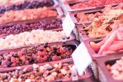 Delicacies on food market Stock Photos