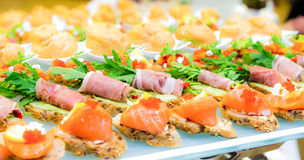 Delicacies and snacks in the buffet. Seafood. A gala reception. Banquet. Royalty Free Stock Image