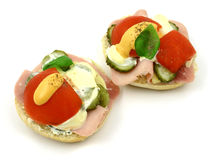 Delicacy. Couple of nutritious  and tasty sandwiches Stock Photo