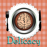 Delicacy. Abstract colorful background with a brain on a plate and the word delicacy written bellow the plate Stock Image