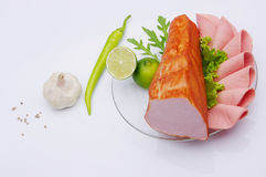 delicacy Alimento da carne na placa imagem de stock