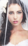 Delicacy. Caucasian Woman Hidden behind Traditional Bridal Veil Royalty Free Stock Images