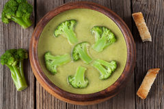 Delicacy cream of broccoli vegetarian soup in Royalty Free Stock Photography