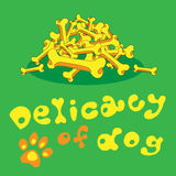 Delicacy for dog of bones. Illustration delicacy for dog of bones yellow green Royalty Free Stock Photos