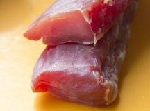 delicacy Duas partes de carne crua imagens de stock