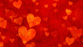 Delicacy hearts on red textured backgrounds. Love texture. panoramic format Royalty Free Stock Images