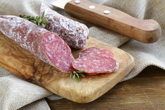 Delicacy smoked sausage (pepperoni) Stock Photography
