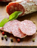Delicacy smoked sausage (salami) Royalty Free Stock Images