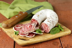 Delicacy smoked sausage (salami) Royalty Free Stock Photography