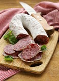 Delicacy smoked sausage (salami) Stock Photo