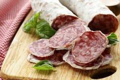 Delicacy smoked sausage (salami) Stock Image