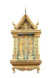 Delicado e elaborado detalhado da janela budista fotos de stock