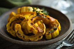 Delicata Squash. Sheet pan with freshly roasted delicata squash on parchment Stock Image