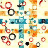 Delicate abstract geometric background. colored circles and lines. grunge effect.  Stock Images