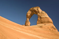 Delicate Arch. Low angle shot of Delicate Arch just before sunset at Arches National Park in Utah Royalty Free Stock Photo