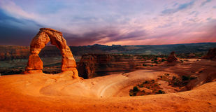 Delicate Arch. At sunset. Arches National Park, Utah stock images