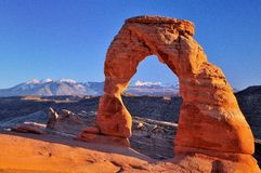 Delicate Arch. At the sunset in autumn Royalty Free Stock Images