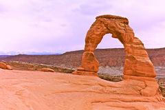 Delicate Arch-Arches National Park. Landmark sandstone arch in arches national park near moab utah, and is the arch featured on the state of utah license plate Royalty Free Stock Images