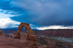 Delicate arch in Arches national Park, beneath a stormy sky Royalty Free Stock Image