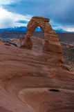 Delicate arch in Arches national Park, beneath a stormy sky Stock Photography