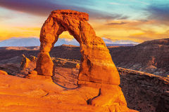 Delicate Arch, Arches National Park, Utah. Sunset at famous Delicate Arch, Utah, USA Stock Image