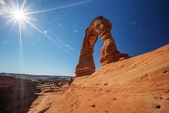 Delicate arch in Arches National Park in Utah, USA.  Royalty Free Stock Photo