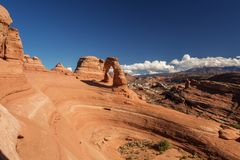 Delicate arch in Arches National Park in Utah, USA.  Royalty Free Stock Image