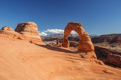 Delicate arch in Arches National Park in Utah, USA.  Royalty Free Stock Photos