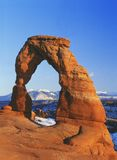 Delicate Arch and the distant La Sal Mountains Stock Photo