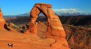 Delicate Arch and La Sal Mountains in Evening Light, Arches National Park, Utah royalty free stock photography