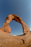 Delicate Arch Fisheye Against Clear Blue Sky Royalty Free Stock Images