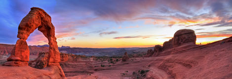 Delicate Arch HDR Sunset Panorama Royalty Free Stock Image