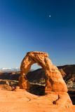 Delicate Arch and the moon. Arches National Park, Utah Stock Photography