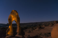 Delicate Arch at Night, Moab Utah Stock Photos