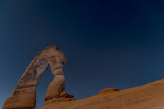 Delicate Arch at Night, Moab Utah Stock Photo