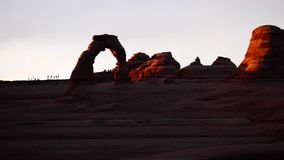 Delicate Arch Overlook at Sunset stock footage