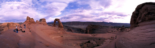 Delicate Arch Panorama. Arches National Park, Utah royalty free stock photos