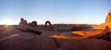 Delicate Arch Panorama Royalty Free Stock Photos